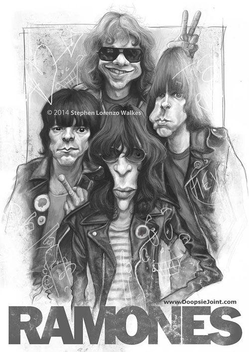 "Caricaturas de Famosos: ""The Ramones"" por Stephen Lorenzo Walkes"