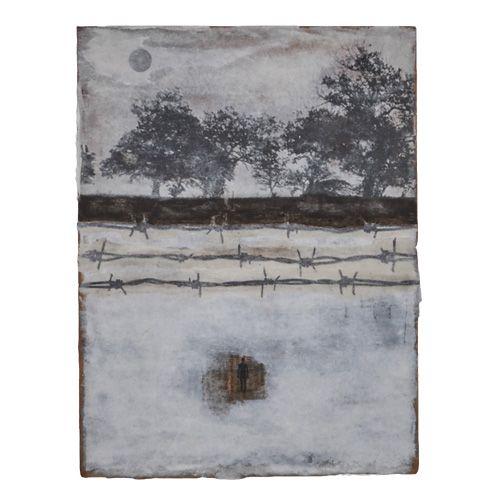 """ACROSS"" Mixed media on paper by Stefano Marocchi (Marcel Duchamp on sale on www.fumogallery.com #paper #across #mixedmedia #art #artwork #painting #marcelduchamp #human #barbwire #emergingartist #printforsale #artgallery #buyart #artcollector #barrier #emigration #sad #trumpsucks #fumo #gallery"