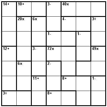 Number Logic Puzzles: 23968 - Kenken size 7