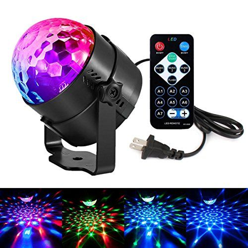 """Disco Lights LED Party Lights Sound Activated Strobe Light Stage Light Disco Ball Dj Lights for Christmas Birthday Wedding DJ Karaoke Show Club Festival Home outdoor (Full color -2)  ★【LEDUR LED STAGE LIGHTS-2017 New Release with REMOTE】3 sound-activated modes+7 lighting modes + Rotating speed control+Suspend start mode+Burst mode.Powerful voice-activated sensor captures nearby sounds or music and changes color or speed with the music, and you can use """"- +"""" button to adjust the speed o..."""