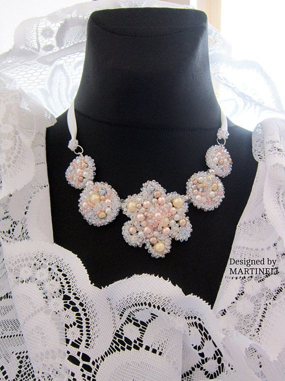White Pearl Statement Necklace Swarovski Pearls Swarovski