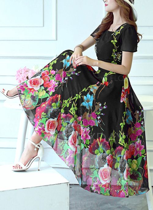 Dresses+-+$49.99+-+Polyester+Floral+Short+Sleeve+Mid-Calf+Casual+Dresses+(1955126414)