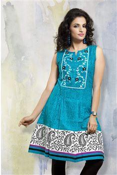 Blue Casual Wear Printed Cotton Kurti