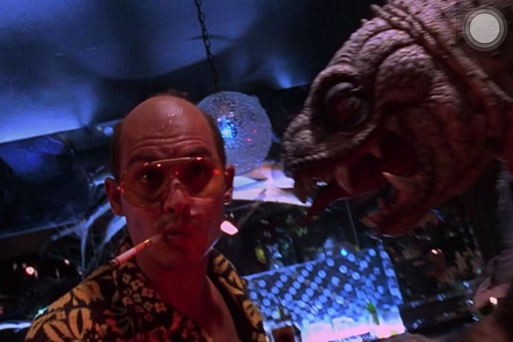 "Johnny Depp sees humans turning into reptiles on LSD on the film ""Fear and Loathing in Las Vegas"""