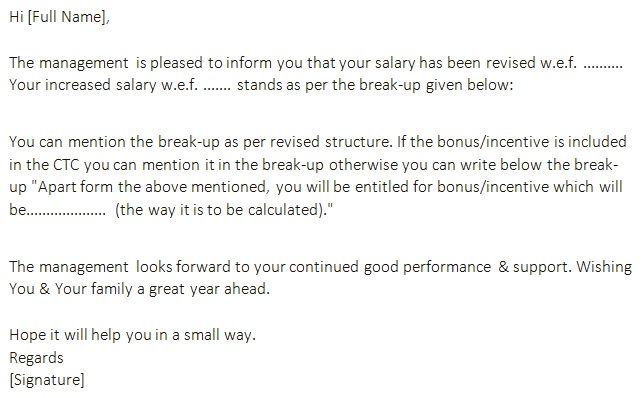 Annual Increment Letter Template Letter Templates Letter Template Word Salary Increase