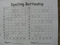 Spelling Battleship - Two person game to help learn spelling words. Free printable