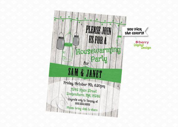 Rustic Hanging Mason Jar Housewarming Party Invitation Green and Black.  Housewarming Invite.  Open house invitation. PDF Rustic Wood Invite