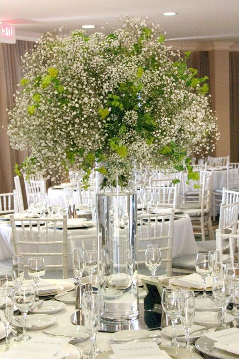 Babies Breath centerpiece. love the greenery mixed in. A cheaper alternative to flowers
