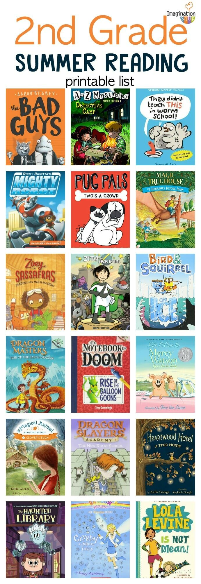 Second Grade Summer Reading List with Printable Book List