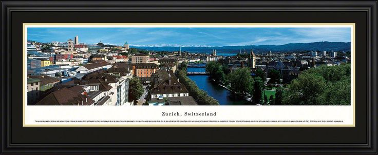 Zurich Skyline Panoramic Picture Framed, Switzerland