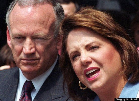 In this Aug. 29, 2000 file photo, Patsy Ramsey speaks as her husband John Ramsey listens during a short news conference in Atlanta. Prosecut...