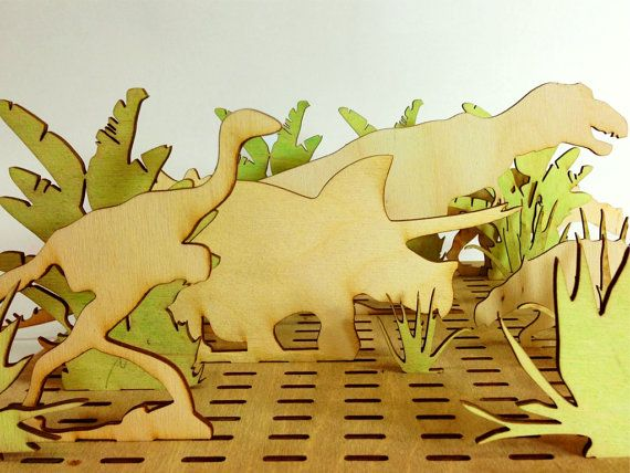Dinosaurs Wood Toy Set Kids Toy Wooden Animals by Base9Designs, $30.00