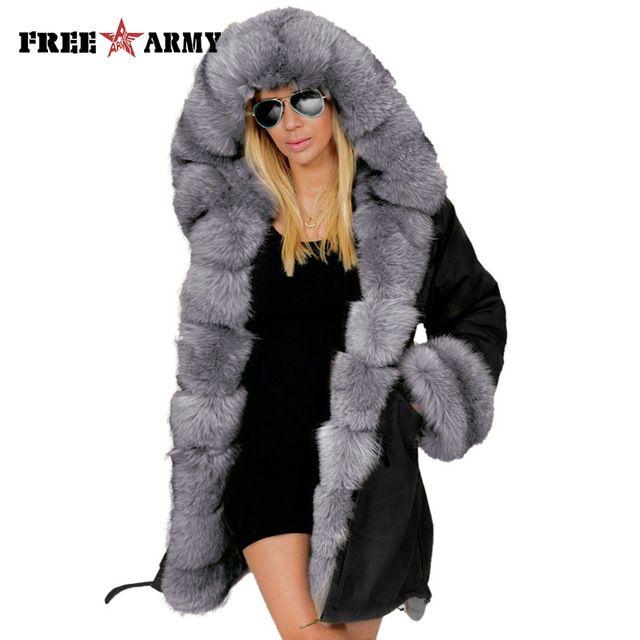 52f565c6f36 FREEARMY Brand Army Green Faux Fur Coat Winter Hooded Jacket Women Cotton Coats  Female Thick Warm Parkas Long Overcoat