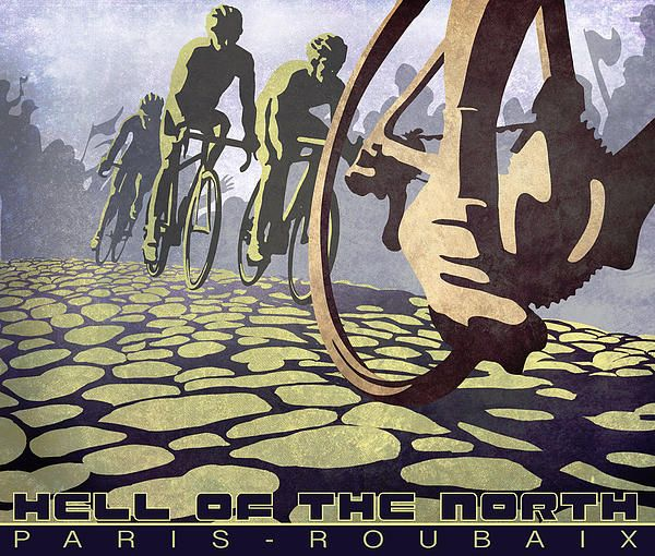 HELL OF THE NORTH retro cycling illustration poster Painting
