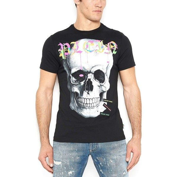 PHILIPP PLEIN 'Airplane' T-Shirt ($340) ❤ liked on Polyvore featuring men's fashion, men's clothing, men's shirts, men's t-shirts, mens neon t shirts, mens neon shirts, mens skull shirts, mens logo t shirts and mens cotton shirts