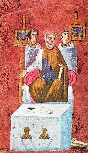 O Πιλάτος, μινιατούρα (τμήμα) από το Ευαγγέλιο του Rossano (6ος αιών).    Το κείμενο που ακολουθεί μνημονεύει μια από τις διάφορες παραδ...