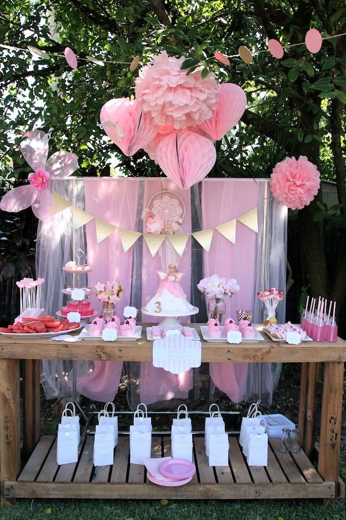 Pink fairy themed birthday party full of really cute ideas for Baby full month decoration ideas
