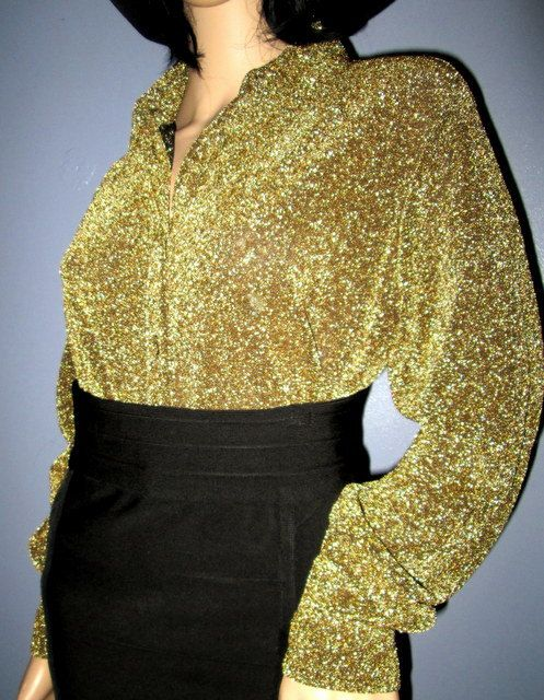 Gold Sparkle Blouse.  Gold Lame Blouse.  Gold by MISSVINTAGE5000