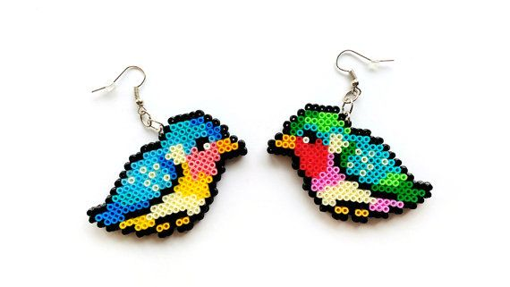 Boucles d'oreilles  Mini Perler Beads perles Hama par 8BitEarrings