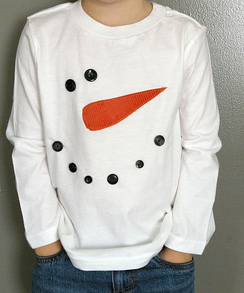 Snowman shirt - simple and so cute! button eyes & mouth