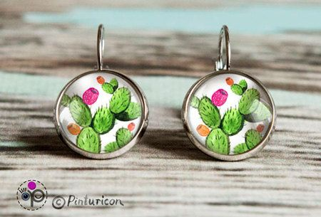 Glass cabochon Earring Cactus Earrings Dangle Earrings Cactus Jewelry Succulent  Jewellry by Pinturicon on Etsy