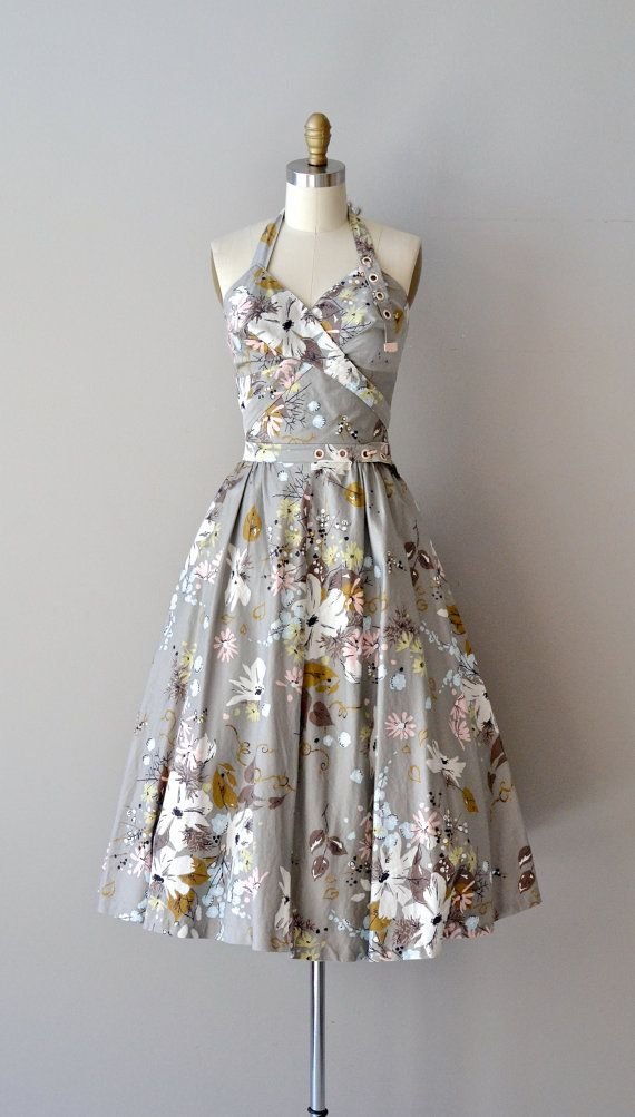 Vintage 1950s unique and particularly fetching gray cotton halter dress with pastel floral print, sweetheart bodice, very interesting halter straps
