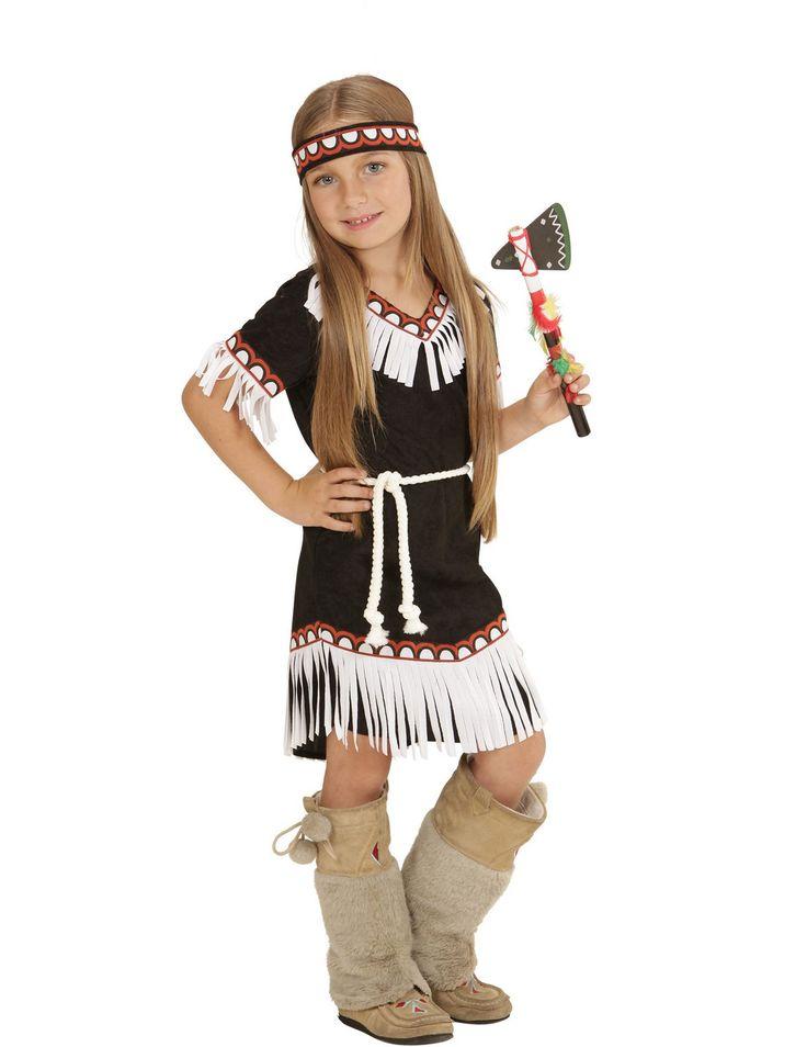Disfraz de india chic niña: Este disfraz de india para niña incluye un vestido, una cinta y un cinturón (pluma de la cinta, hacha, lanza y zapatos no incluidos). El vestido es corto de color negro de manga corta....