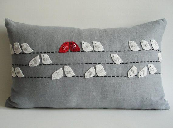 Sukan / Birds Linen Pillow Cover - 12x20 inch - Gray White Red Dark Red via Etsy