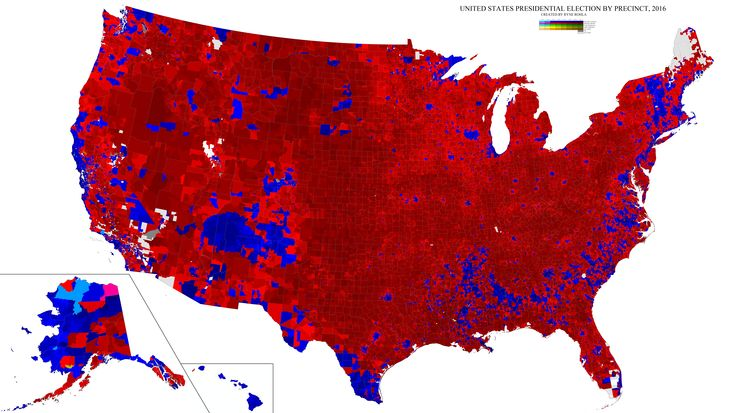 2016 US presidential election by voting precinct [10000x5617]