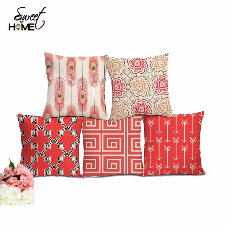 Linen Cotton Pink Geometry Patterns Home Decorative Sofa Throw Cushion Peacock Feather Pillow No Filling-in Cushion from Home & Garden on Aliexpress.com   Alibaba Group