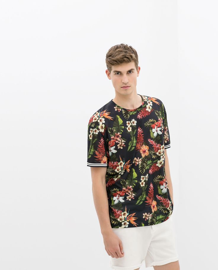 T - SHIRT FLEURS - Matching Prints - HOMME   ZARA France   floral pattern    Shirts, T shirt et Floral. 0b3afbae0cbe