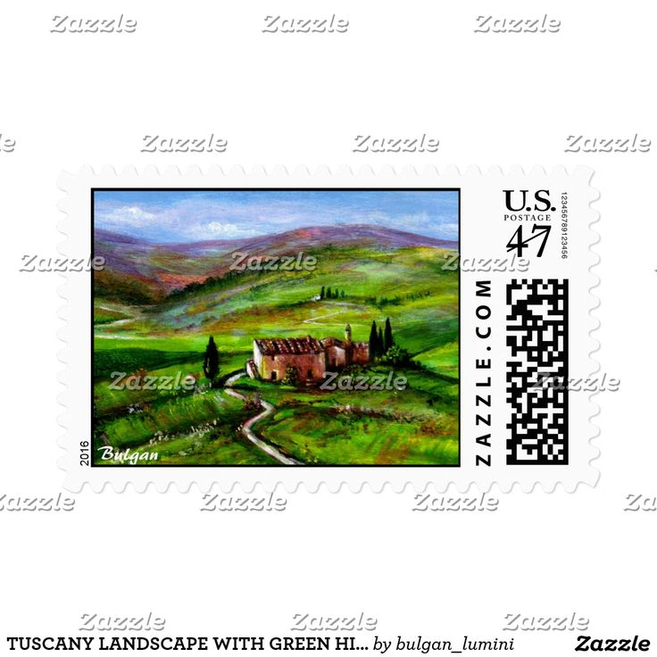 TUSCANY LANDSCAPE WITH GREEN HILLS POSTAGE STAMP by Bulgan Lumin i (c) #fineart #nature #beauty #landscapes #paintings #artist #italy