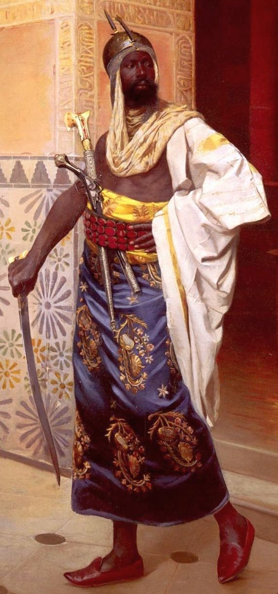 A Nubian Guard, Rudolf Weisse 1869 - 1930 (not to be confused with the Swiss Orientalist painter Johann Rudolf Weiss, b.1846) was born in Usti (Aussig), Bohemia, a town on the banks of the Elbe. He studied at the Viennese Akademie der Bildenden Künste. He exhibited at the Salon in Paris between 1889 and 1927 and also showed paintings in Vienna, London, Bordeaux and Toulon. Weisse specialized in portraits and Orientalist views, chiefly street scenes in Cairo, which he must have visited.