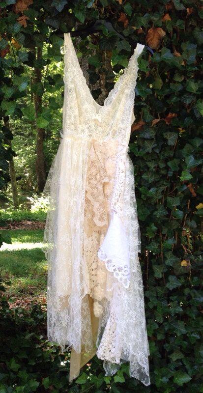 Tattered Dress Tattered Rag Boho Dress Bohemian Dress Festival Wedding Dress Fairy Costume Dress on Etsy, $65.00