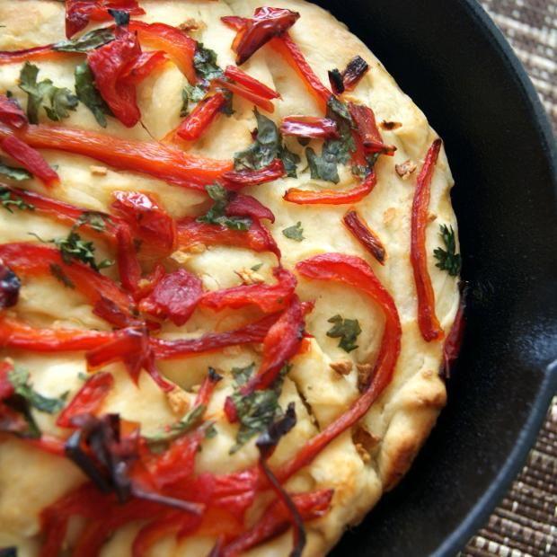 Roasted Sweet Pepper Focaccia Bread | Mini Pepper Recipes | Pinterest