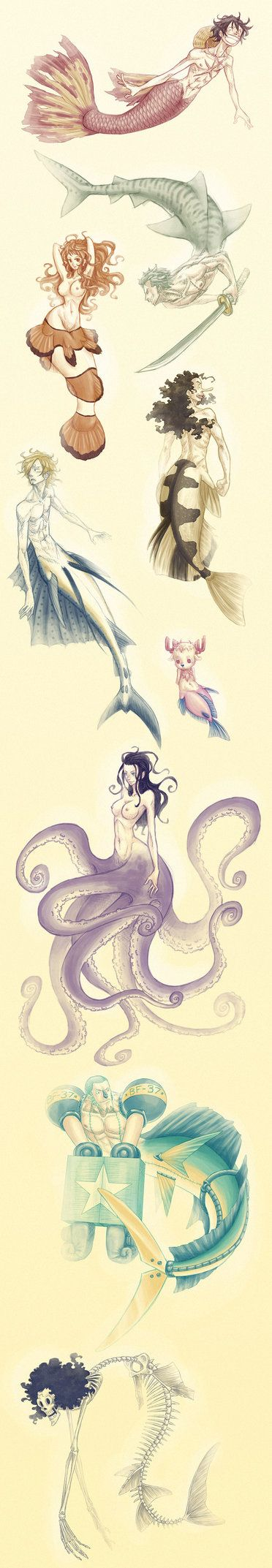 Mer-Strawhats by SybLaTortue.Luffy : Guppy merman Zoro : Tiger shark merman Nami : Clownfish mermaid Usopp : Archerfish merman Sanji : Sailfish merman  Chopper : Surgeonfish mer-reindeer Robin : Purple octopus mermaid Franky : Mahi-mahi cyborg merman Brook : Dead sturgeon merman,one piece