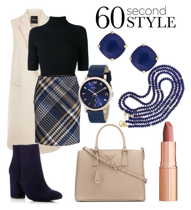 """""""Gone In 60 Seconds 💙"""" by anca2 on Polyvore featuring Theory, Valentino, Oui, Kenneth Cole, Kate Spade, Prada, Charlotte Tilbury, Marc by Marc Jacobs, Valentin Magro and WorkWear"""