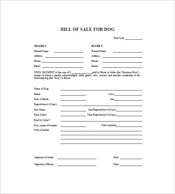 Dog Bill of Sale Template – 8+ Free Word, Excel, PDF Format Download | Free & Premium Templates