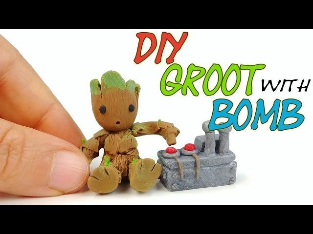 HOW TO MAKE GROOT Guardians of the Galaxy 2 Miniature polymer clay tutorial diy craft