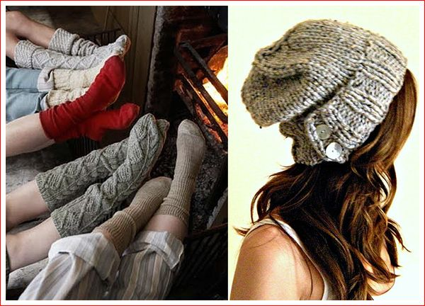 Chunky knit and button hat & socks!