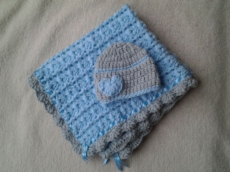 baby boy blanket, crochet boy blanket, carseat blanket, newborn boy hat, ready to ship by crochetfifi on Etsy