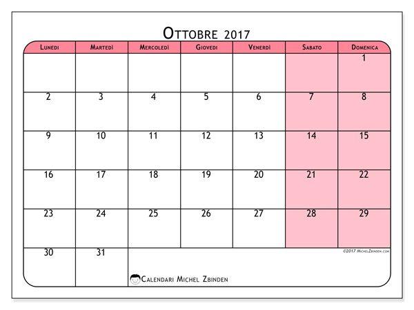 Calendario per stampare ottobre 2017 - Severinus