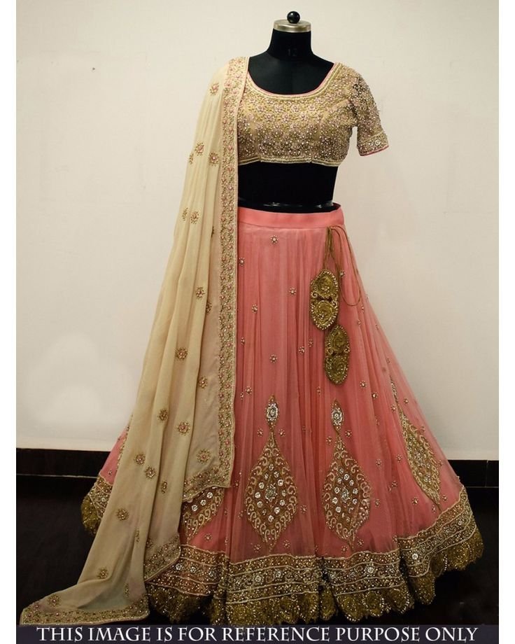 Buy Peach Naylon Mono Net Designer Wear Lehenga Choli - Bogglingshop