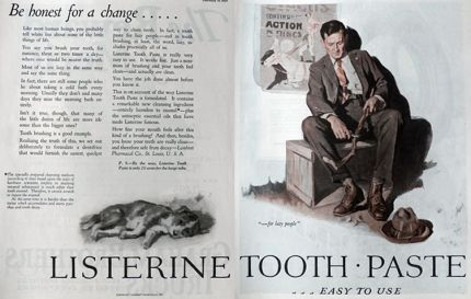 1926 Listerine Toothpaste Ad ~ For Lazy People