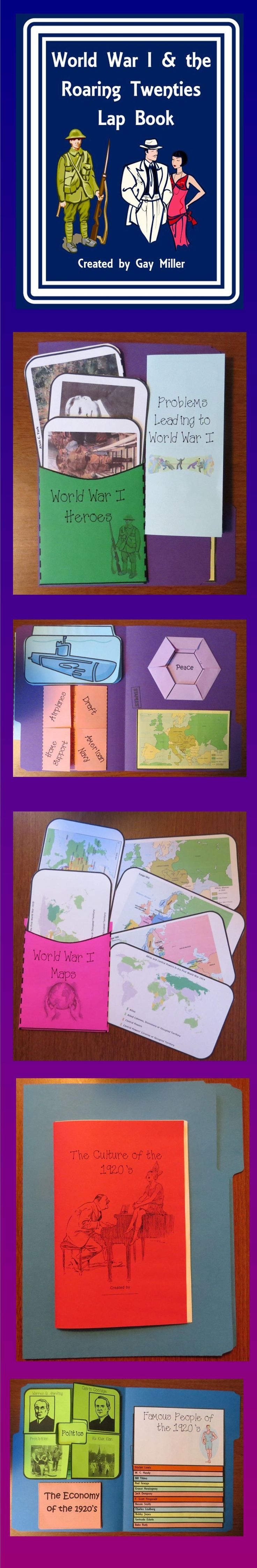 This World War I and the Roaring Lap Book contains interactive organizers which may be glued onto a file folder to form a lap book, added to interactive notebooks, or used individually.