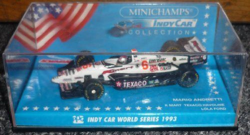 Minichamps Indy Car 1993 Series Mario Andretti K-Mart Texaco Havoline Lola Ford 1/64 Metal by Paul's Model Art. $9.99. 1/64 Metal. Minichamps Indy Car Collection. Indy Car World Series 1993. Plastic Display Case. Mario Andretti K-Mart Texaco Havoline Lola Ford 1/64 Metal Indy Car. Made by Pauls Model Art,Minichamps Indy Car Collection. Part of the Indy Car World Series 1993. Comes in a Plastic Display case. Has a couple of very faint scratches on the back.