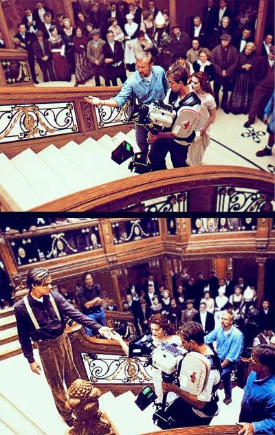 Oscar-winning director, James Cameron, filming Leo DiCaprio & Kate Winslet in Titanic (1997)