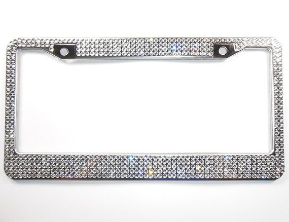 Bling License Plate Frame, Clear/Silver 5 Row Rhinestone Frames w/ Screw Cap Covers, Crystal Car Accessory, Bling Car Decor, Car Bling Frame