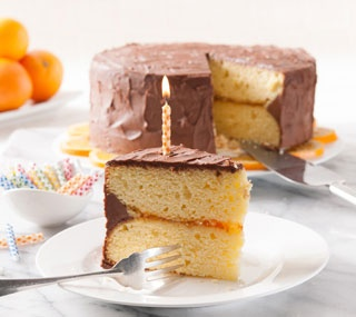 Orange Layer Cake with Cocoa Frosting