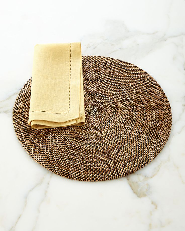 Round Placemats, Set of Four, Brown